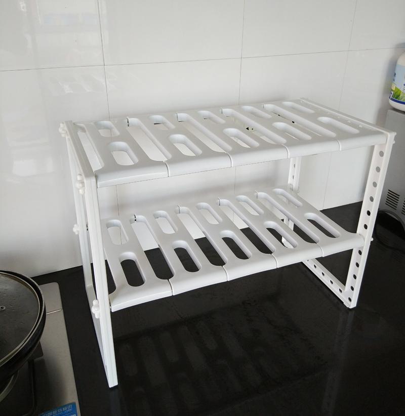 廚房不鏽鋼塑料可伸縮水槽架收納架單層雙層廚房置物架整理收納架