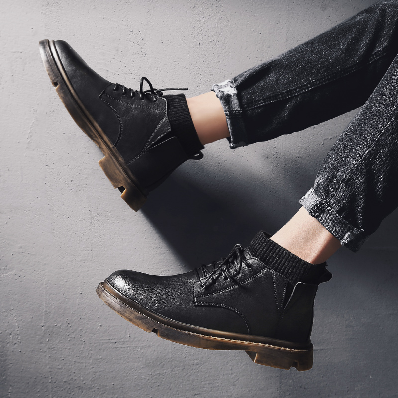 黑色马丁靴男皮靴男鞋冬季高帮雪地靴中帮鞋子英伦风加绒棉鞋皮鞋