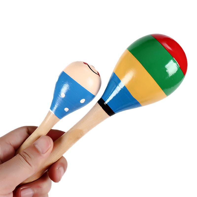 木制彩色沙响棒大沙锤沙球筒手摇乐器婴幼儿童宝宝早教益智力玩具