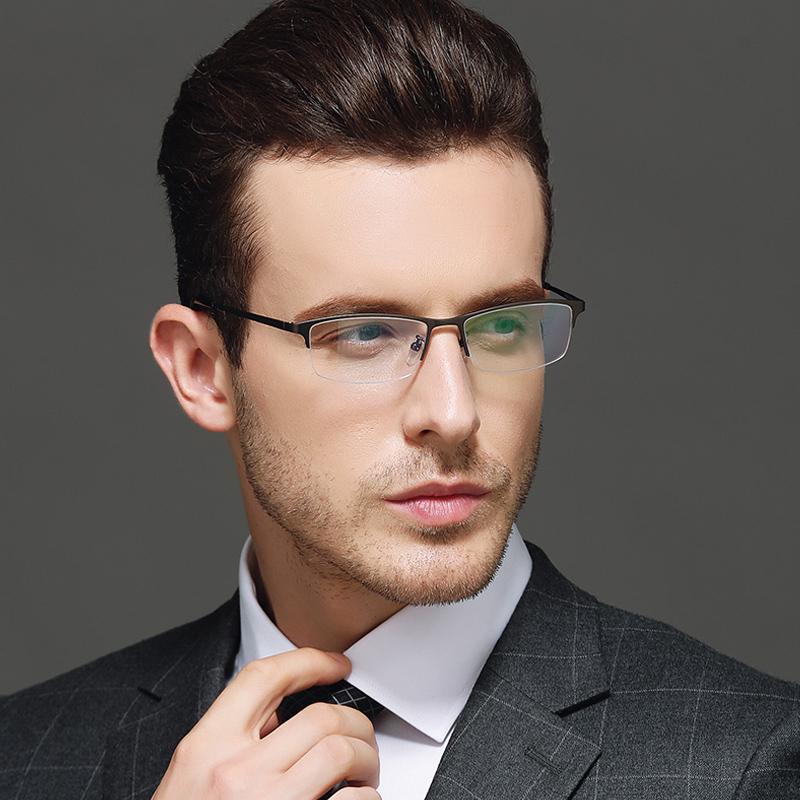 亿超商务眼镜框男纯钛金属全半框光学眼镜架超轻方框配近视眼睛男