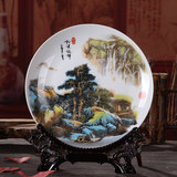 Jingdezhen ceramics landscape painting decorative plate flower plate hanging plate modern home decoration crafts display