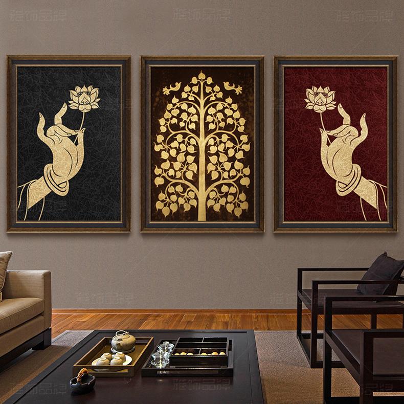 东南亚泰式客厅装饰画纯手绘佛手金箔画油画餐厅书房三联挂画壁画