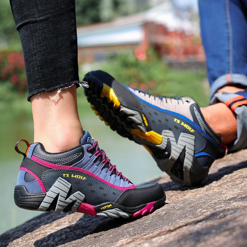 探森狼真皮户外鞋男鞋登山鞋女鞋防水防滑徒步鞋运动鞋爬山旅游鞋