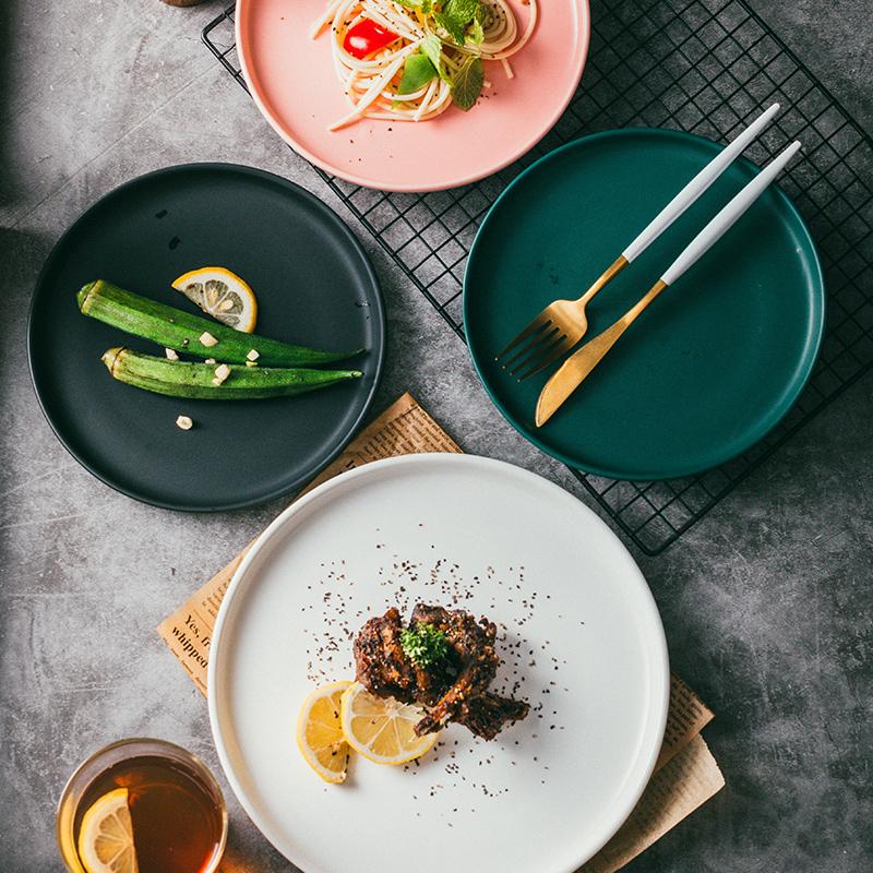 北欧陶瓷西餐盘牛排盘 创意网红西式早餐盘平盘 白色家用菜盘碟子