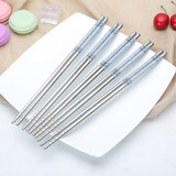 Stainless steel chopsticks household non-slip anti-scald 10 pairs of family-equipped fast-food Japanese-style cafeteria anti-iron silver metal chopstick