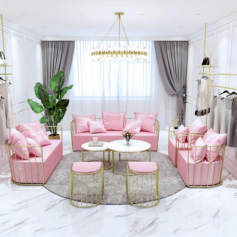 北欧铁艺沙发ins现代简约网红双人沙发椅创意工作室服装店小沙发
