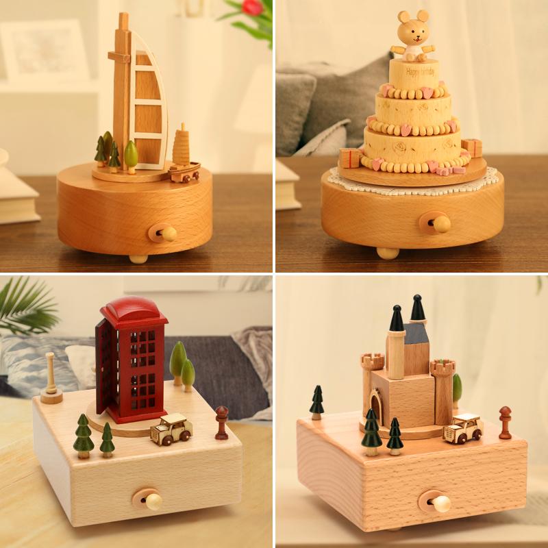 木质音乐盒八音盒同学毕业生日礼品女生创意天空之城情人节礼物小