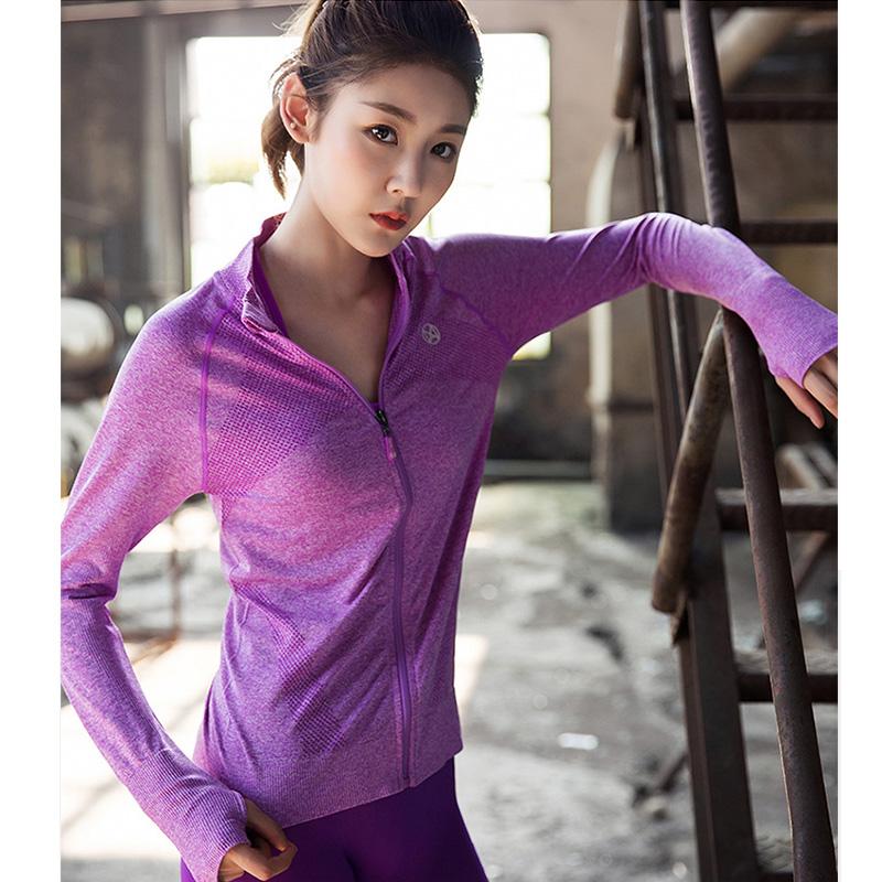 女戶外運動長袖上衣 健身跑步瑜伽T恤 排汗透氣速幹立領拉鍊外套
