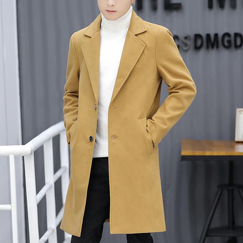 新款韩版潮流衣服中长款加绒加厚男装呢子风衣 2018 男士外套秋冬季