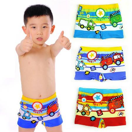 包郵兒童平角泳褲男童寶寶嬰幼兒小童游泳褲卡通汽車小孩溫泉泳衣