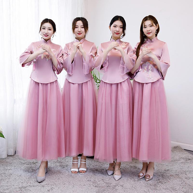 中式伴娘服2019新款夏长款姐妹团毕业礼服裙韩版中国风复古旗袍女
