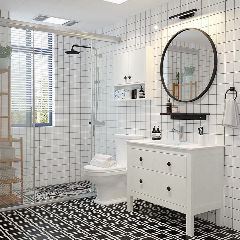浴室柜组合北欧现代简约美式洗脸洗手盆柜卫生间洗漱台卫浴落地式