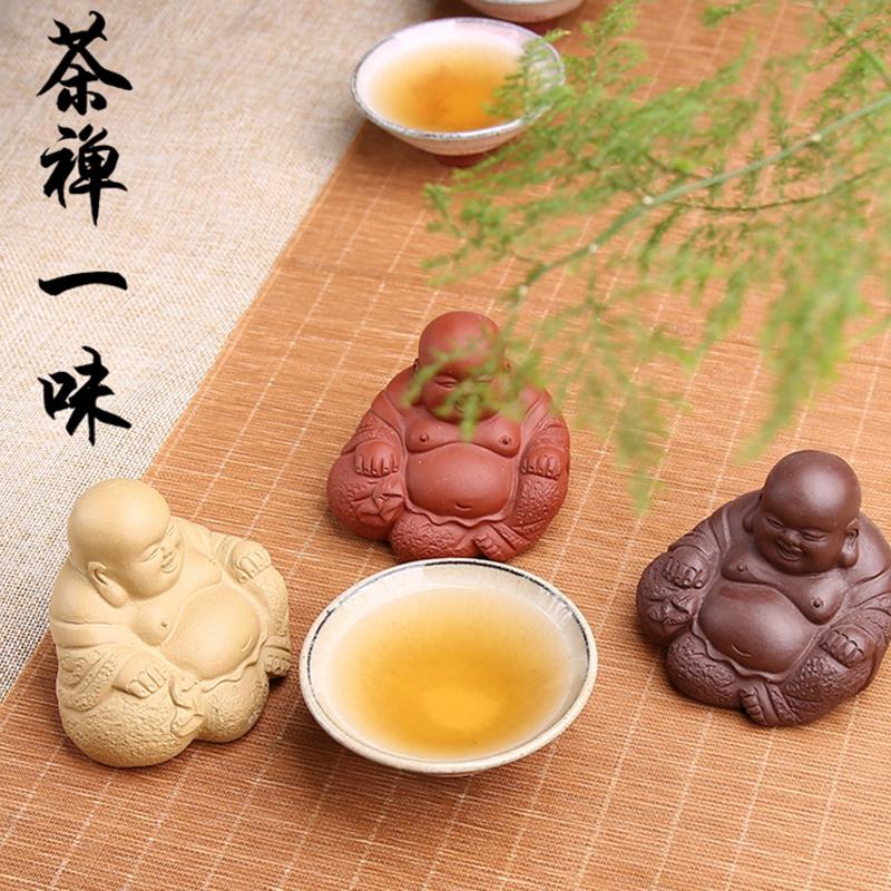 宜兴紫砂招财笑面佛茶宠小摆件茶具茶盘茶台茶道弥勒佛茶玩小茶宠
