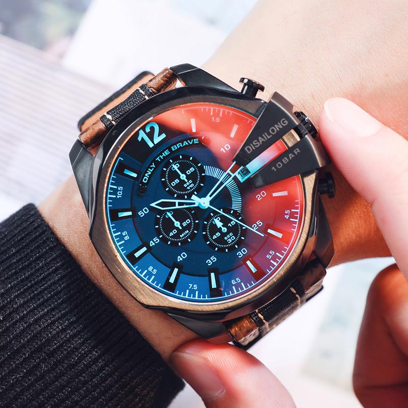 原创品牌欧美霸气手表男大盘潮偏光皮带个姓创意时尚石英腕表 DSL