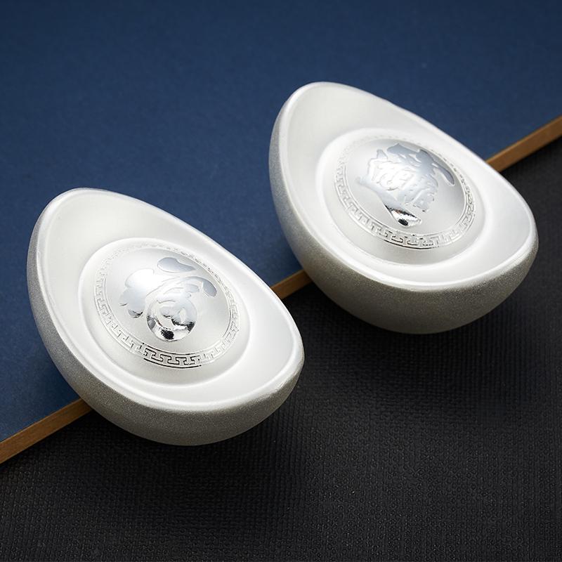 银锭原材料可回收非棱面 足银投资收藏实心纯银元宝 S999 顺钦银楼