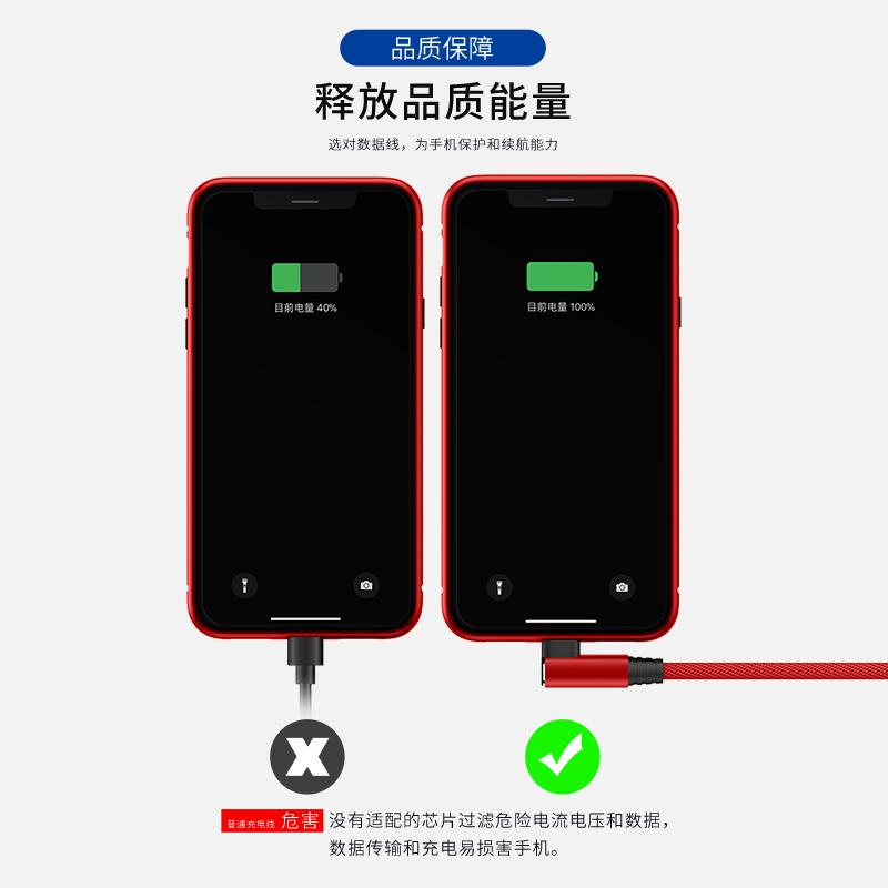 iPhone6数据线苹果6s充电线器7plus手机5s加长8x弯头快充11pro冲电XR正品2米sp平板se闪充8p适用ipad短XS Max