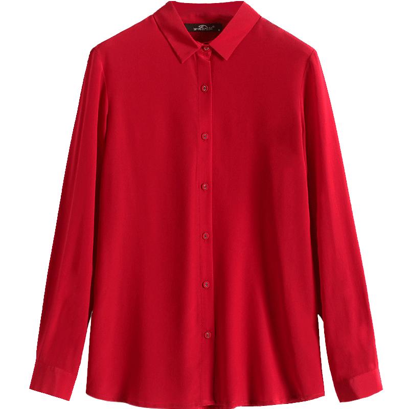 杭州红色真丝衬衫女衬衣长袖宽松气质大码桑蚕丝真丝上衣女士小衫