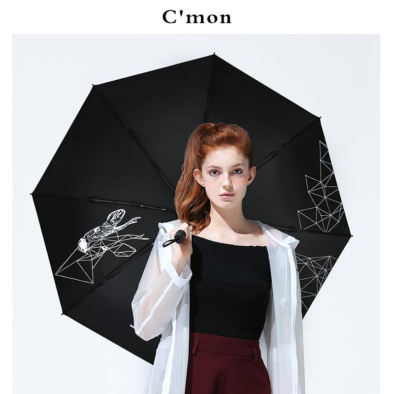 [淘寶網] Cmon迷之鹿小黑傘晴雨兩用摺疊創意太陽傘女黑膠遮陽傘防曬紫外線