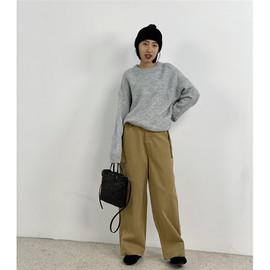 腰部系带穿出大长腿宽松高腰工装拖地裤阔腿裤休闲直筒长裤女秋冬