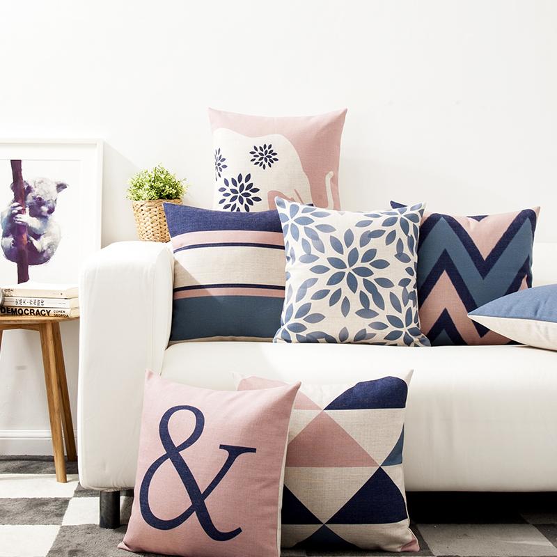簡約現代藍色幾何北歐居家風格英倫抽象棉麻抱枕客廳沙發靠墊靠枕