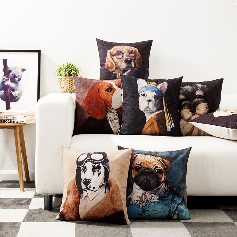 動物肖像靜物狗狗辦公靠枕沙發墊枕套文藝範個性汽車原創棉麻抱枕