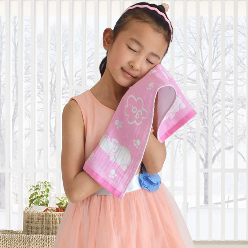 6条纯棉纱布儿童小毛巾三层吸水童巾宝宝洗脸柔软毛巾成人面巾