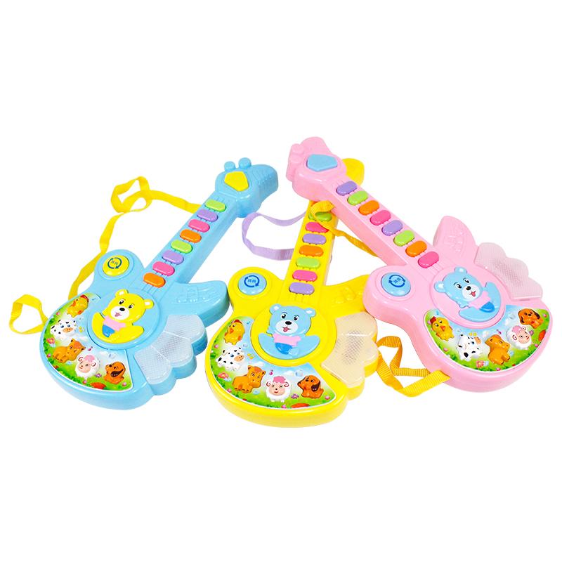 港比熊  儿童仿真吉他可弹奏 卡通动物乐器带音乐琴玩具1-4岁