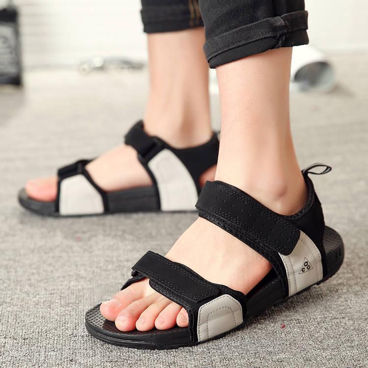 凉鞋男士皮学生情侣女韩版休闲潮拖2019夏季新款越南黑色沙滩鞋