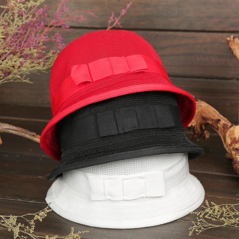 杨丽萍设计原创复古涤纶网眼休闲优雅透气短檐圆顶礼帽女