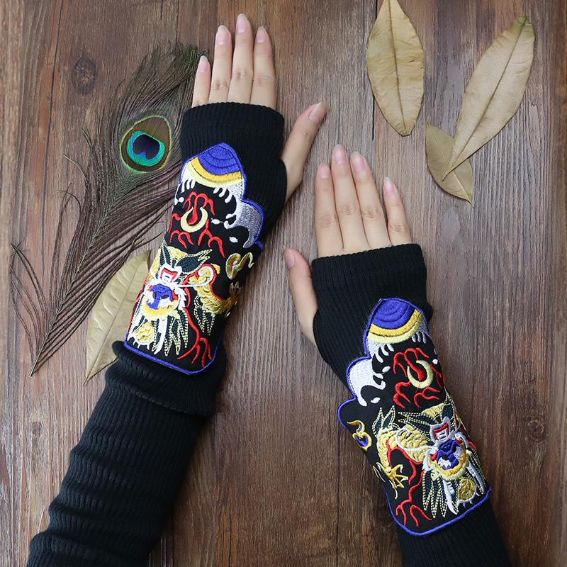杨丽萍设计秋冬季新款女装原创民族风传统刺绣绣花袖套指套手套女