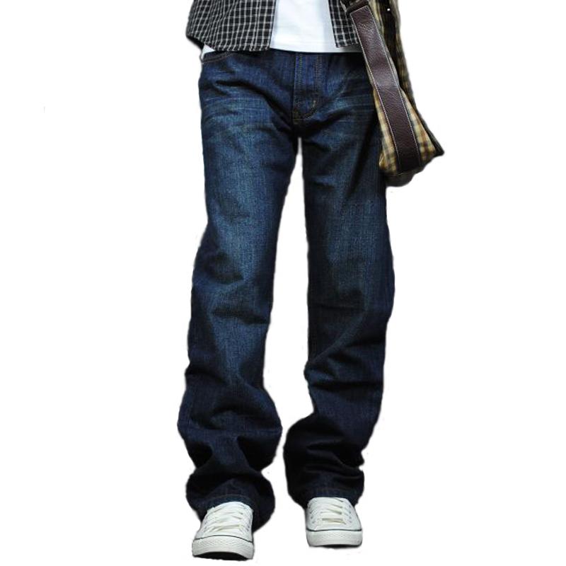 春秋季宽松牛仔裤男直筒常规款长裤子加肥加大码胖子粗腿肥佬休闲