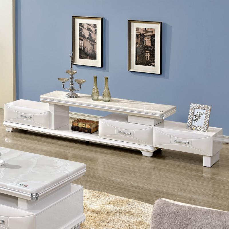 白色大理石電視櫃茶几組合套裝簡約現代鋼化玻璃地櫃可伸縮矮櫃