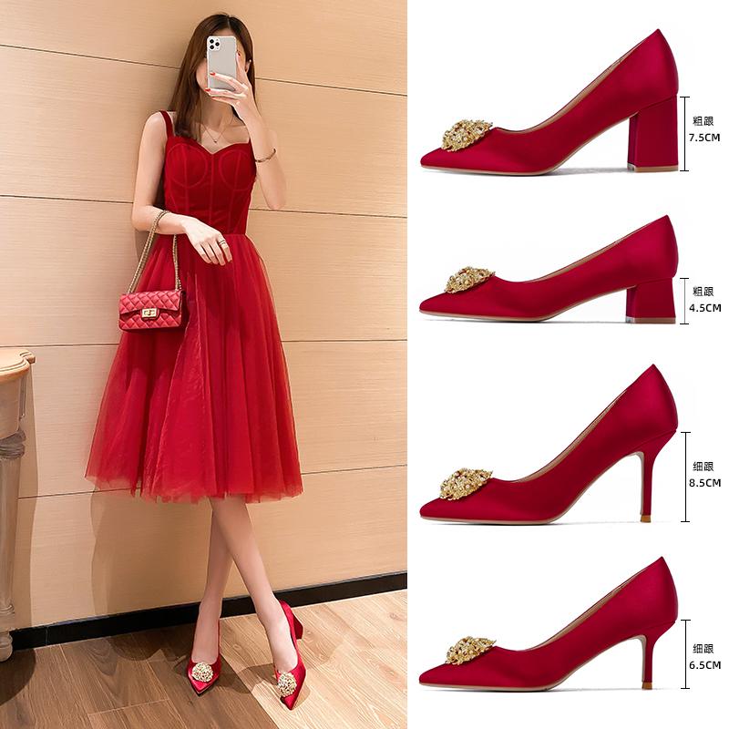 年新款红秀禾中式敬酒服婚鞋平时可穿粗跟高跟鞋女 2020 婚鞋新娘鞋