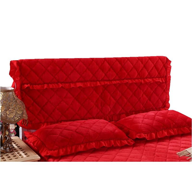 结婚庆大红色蕾丝床头套布艺1.8m床头罩防尘罩保护罩软包1.5米2m