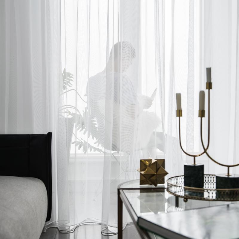 窗纱纱帘白纱窗帘透光不透人半透窗帘白色遮光布料短款白纱阳台纱