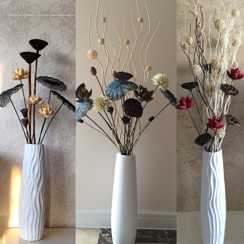 622白色陶瓷落地高花瓶装饰 客厅现代简约干枝插花北欧家居摆件大