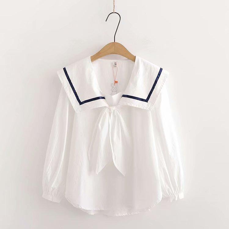 日系软妹森女风小清新蝴蝶领结海军大翻领宽松纯棉白衬衣娃娃衫女