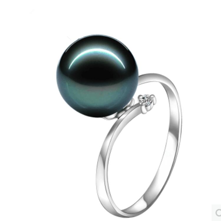 正圆珍珠无暇强光无暇天然珍珠指环包邮 天然大溪地黑珍珠粉戒指
