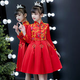 Girl's cheongsam plus velvet winter skirt princess skirt Chinese style children's clothing children's dress Chinese New Year New Year's clothing red skirt