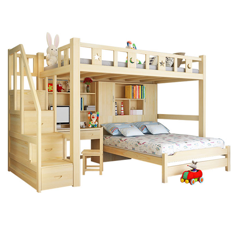 包邮儿童床实木床高低子母床双层床梯柜床上下铺学生带书桌多功能