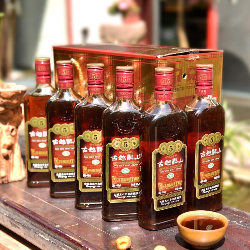 瓶装 6 500ml 绍兴黄酒古越龙山金五年陈年加饭花雕酒糯米黄酒整箱