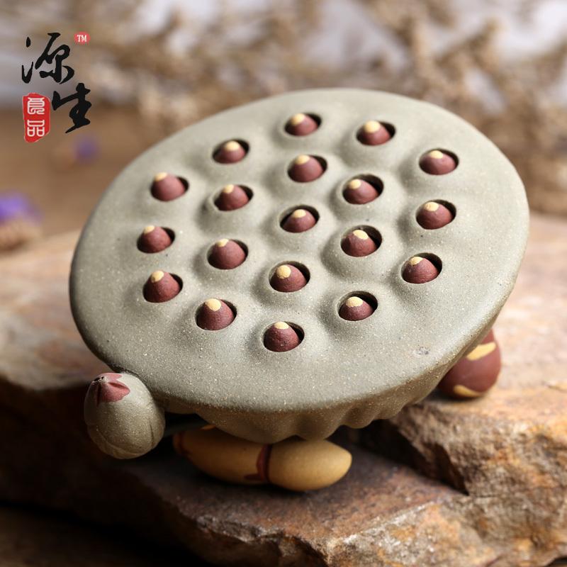 包郵精品宜興手工茶玩紫砂茶道具茶寵擺配件雕塑可養蓮蓬荷花蓮子