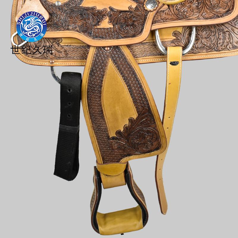 世纪久端马术用品牛皮雕西部马鞍子骑马装备儿童马鞍全套包邮马具