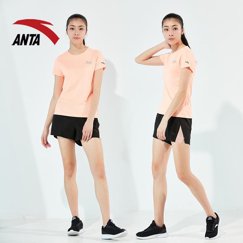 安踏女运动套装2018夏季新款跑步套装梭织透气短袖舒适休闲套装女