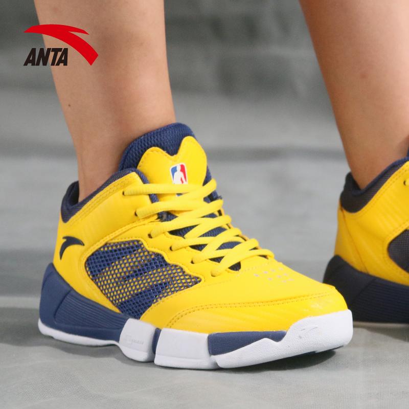 安踏童鞋兒童籃球鞋2018夏季新款男大童運動鞋透氣高幫減震男童鞋