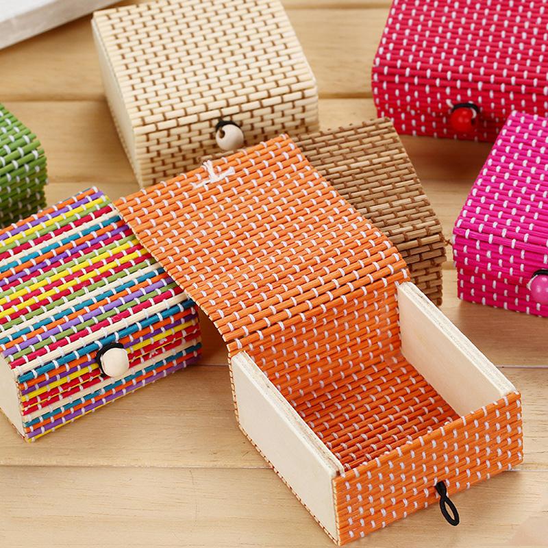 韩版清新简约大容量创意竹帘杂物盒饰品收纳盒戒指珠宝盒女首饰盒