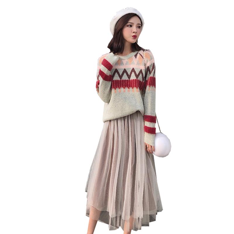 网红两件套装俏皮早秋装女2018新款韩版气质时尚网纱长裙针织套装