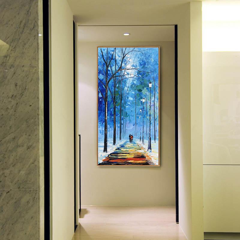 一路同行 張子柱原創手繪油畫 北歐風格現代風景豎版玄關走廊過道