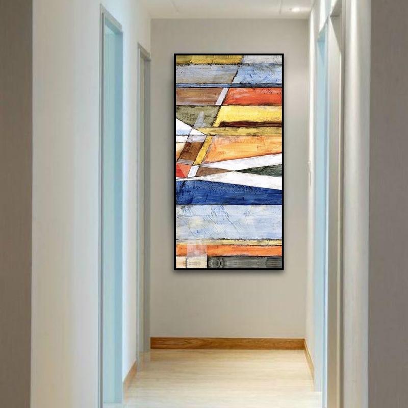 色彩密码 手绘油画 现代简约抽象北欧风格玄关竖版装饰画过道走廊