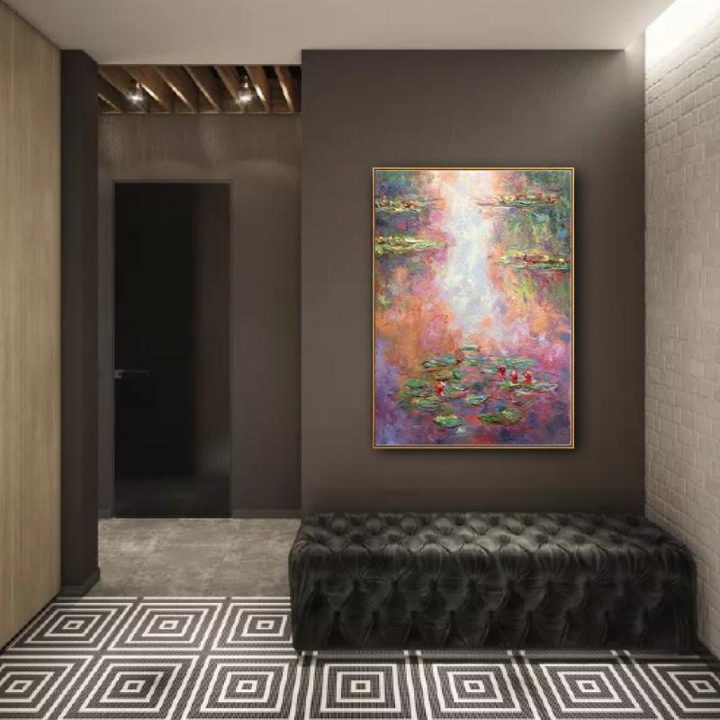 莫奈睡蓮系列 純手繪油畫 歐式美式新古典三聯風景客廳裝飾畫名畫